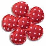 Applicatie bloem rood met witte stippen satijn groot 45 mm (ca. 25 stuks)
