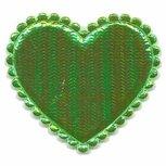 Applicatie glim hart groen groot 45 x 45 mm (ca. 25 stuks)