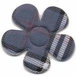 Applicatie geruite bloem grijs groot 45 mm (ca 25 stuks)