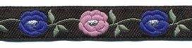 Zwart-zilver-kobalt blauw-oud roze bloemband 12 mm (ca. 22 m)