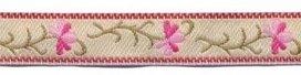 Cr?me-fuchsia-roze bloemband 12 mm (ca. 22 m)