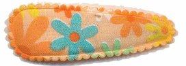 Haarknip met haarkniphoesje oranje met bloem 5 cm