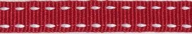 Bordeaux-wit stippel grosgrain/ribsband 10 mm (ca. 25 m)