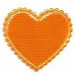 Applicatie glim hart oranje groot 45 x 45 mm (ca. 25 stuks)