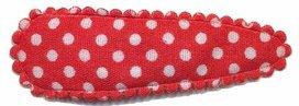 Haarknip met haarkniphoesje rood met witte stip / polkadot 5 cm (10 stuks)