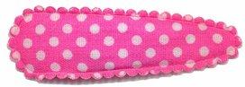 Haarknip met haarkniphoesje knal roze met witte stip / polkadot 5 cm (10 stuks)