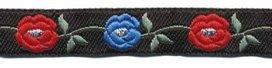 Zwart-zilver-blauw-rood bloemband 12 mm (ca. 22 m)