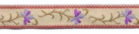 Creme-lila-paars bloemband 12 mm (ca. 22 m)