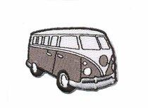 Opstrijkbare applicatie 'VW bus' grijs klein (5 stuks)
