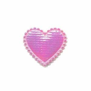 Applicatie glim hart roze klein 25 x 25 mm (ca. 25 stuks)