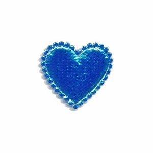 Applicatie glim hart blauw klein 25 x 25 mm (ca. 25 stuks)