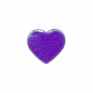 Applicatie glim hart paars klein 20 x 20 mm (ca. 25 stuks)