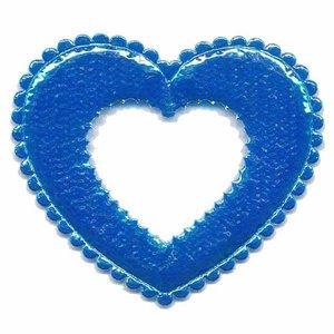 Applicatie glim open hart blauw groot 45 x40 mm (ca. 25 stuks)