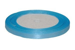 Licht blauw enkelzijdig satijnband 7 mm (ca. 22 m)