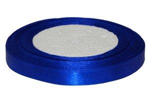 Kobalt blauw enkelzijdig satijnband 10 mm (ca. 22 m)