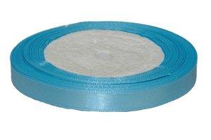 Licht blauw enkelzijdig satijnband 10 mm (ca. 22 m)