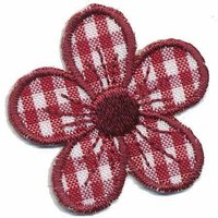 Applicatie geruite bloem bordeaux 40 mm (10 stuks)