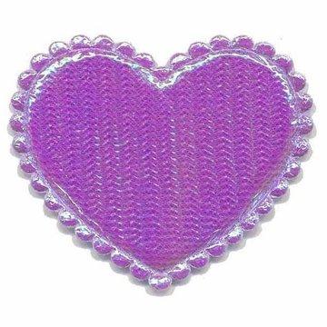 Applicatie glim hart paars groot 45 x 45 mm (ca. 25 stuks)