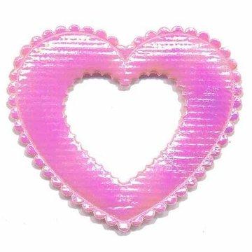 Applicatie glim open hart roze groot 50 x 40 mm (ca. 25 stuks)