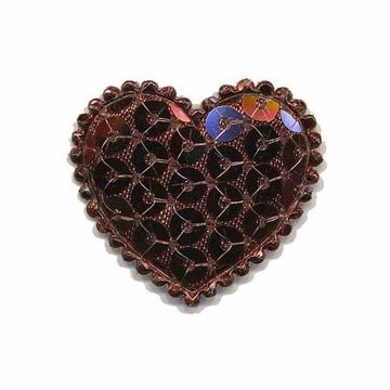 Applicatie hart met pailletten bruin middel 35 x 30 mm (10 stuks)