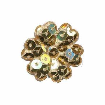 Applicatie bloem met pailletten goud 30 mm (10 stuks)