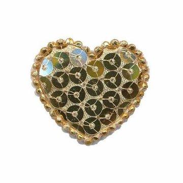 Applicatie hart met pailletten goud middel 35 x 30 mm (10 stuks)