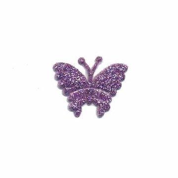 Applicatie glitter vlinder paars klein 20 x 20 mm (25 stuks)