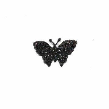 Applicatie glitter vlinder zwart klein 20 x 20 mm (25 stuks)
