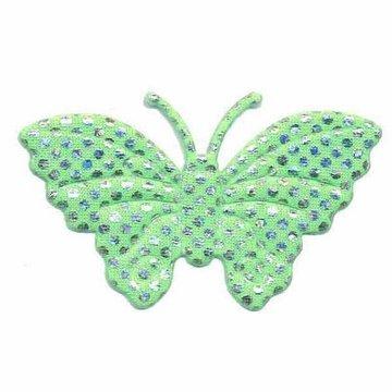 Applicatie glim vlinder groen met zilveren stippen groot 45 x 30 mm (25 stuks)