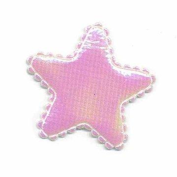 Applicatie glim ster wit/roze middel 35 mm (ca. 25 stuks)