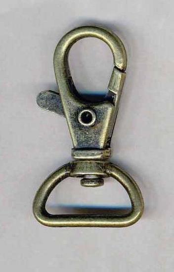 Musketonhaak / sleutelhanger bronskleurig 20 mm