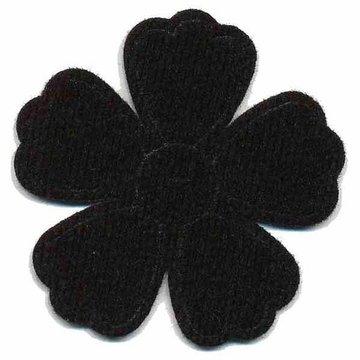 Applicatie bloem zwart groot