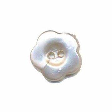 Bloemknoop wit parelmoer 15 mm