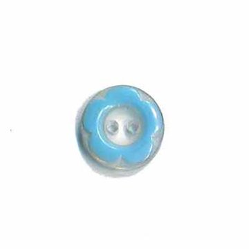 Bloemknoop met opstaande rand blauw 11 mm
