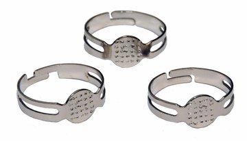 Verstelbare ring 15-19 mm met plakschijfje (ca. 25 stuks)