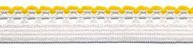 Wit-geel elastiek met sierrand 12 mm