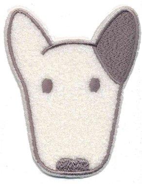 Applicatie hond wit/grijs (5 stuks)
