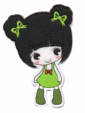 Applicatie meisje met jurkje groen (5 stuks)