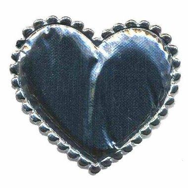Applicatie glim hart zilver groot 45 x 45 mm (ca. 25 stuks)