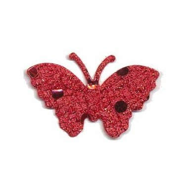 Applicatie glitter vlinder rood 40 x 25 mm (ca. 25 stuks)