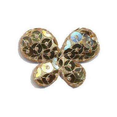 Applicatie vlinder met pailletten goud 35 x 25 mm (10 stuks)