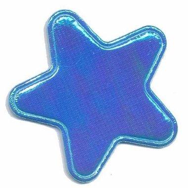 Applicatie glim ster blauw groot 45 mm (ca. 25 stuks)