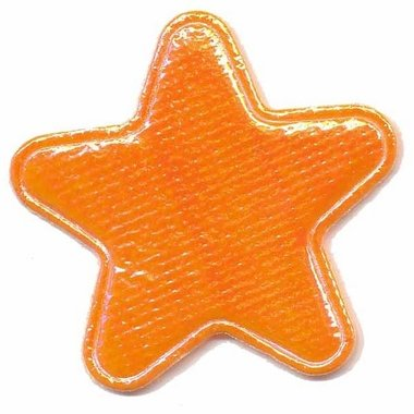 Applicatie glim ster oranje groot 45 mm (ca. 25 stuks)