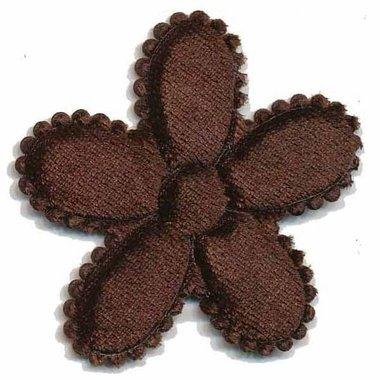 Applicatie bloem bruin fluweel groot 45 mm (ca. 25 stuks)