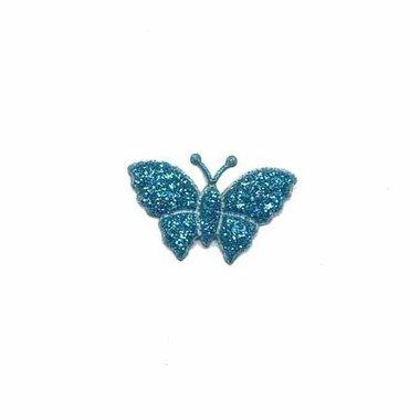 Applicatie glitter vlinder petrol klein 20 x 20 mm (25 stuks)