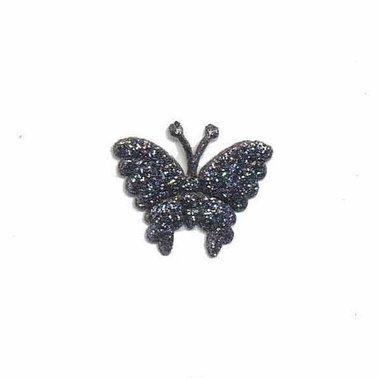 Applicatie glitter vlinder antraciet/zilver klein 20 x 20 mm (25 stuks)