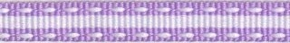 Lila-wit stippel/streep grosgrain/ribsband (ca. 25 m)