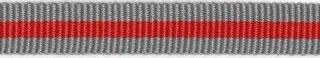 Grijs-rood streep grosgrain/ribsband 10 mm (ca. 25 m)