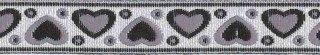 Zwart-grijs-zilver hartjesband 12 mm (ca. 22 m)