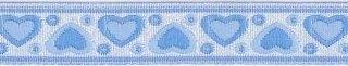 Blauw-zilver hartjesband 12 mm (ca. 22 m)